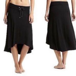Athleta Women's Solid Black Midi High Low Skirt